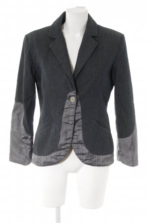 Denim Blazer dark blue-silver-colored striped pattern material mix look