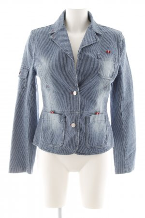 Denim Blazer steel blue-white pinstripe casual look