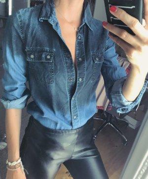 Zara Blouse en jean noir-bleu