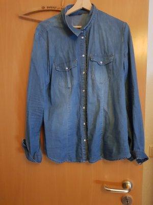 Jeans blouse staalblauw