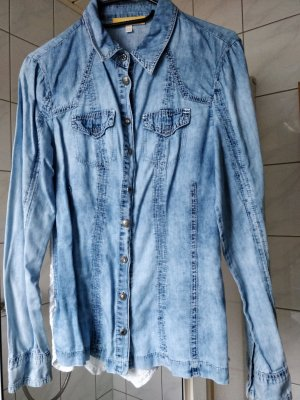 Biba Blouse Jacket white-cornflower blue
