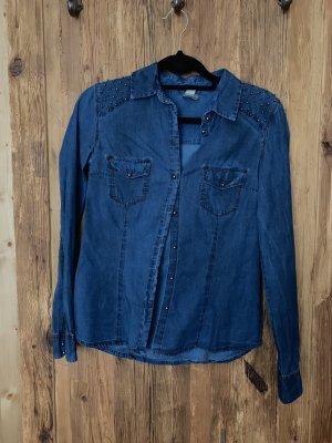 Bershka Jeans blouse donkerblauw-zilver