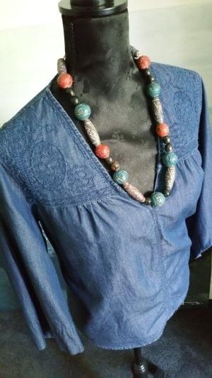 Blouse bleu acier coton
