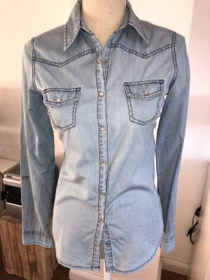 Jeansbluse Bluse Gr. 34 XS tailliert