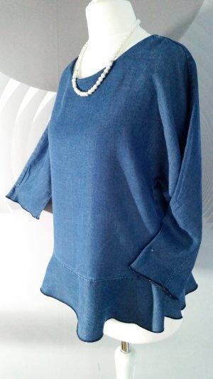 Jeansbluse H&M Schößchenbluse Gr S Lyocell neuwertig Blau