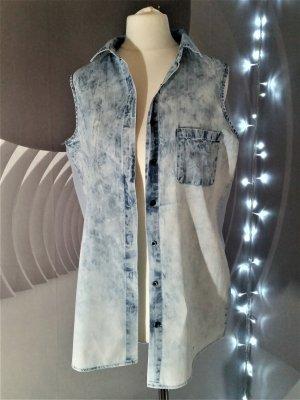 Jeansbluse hinten transparent 40 M Denim & Co Bleichjeans neuwertig