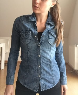 Jeansbluse in mittelblau