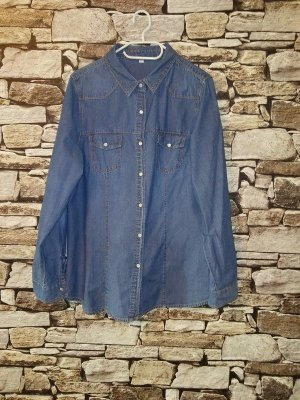 Jeans blouse blauw-staalblauw Katoen