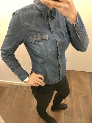Jeansbluse Jeanshemd Hemd Bluse mit Druckknöpfen langärmlig blau wie neu