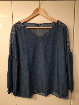 Massimo Dutti Blouse en jean bleu foncé lyocell