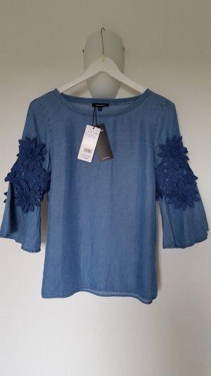 Jeansbluse mit Blumenapplikationen, 3/4-Arm, total trendy