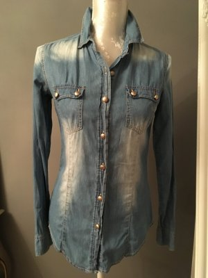 Blouse en jean bleu azur coton