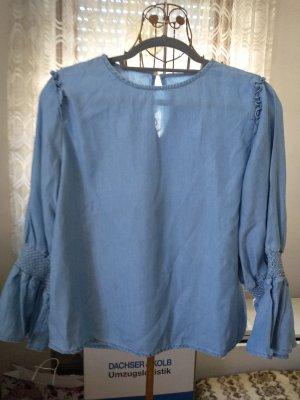 Zara Woman Denim Blouse pale blue lyocell