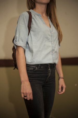 Jeansbluse mit Knopfleiste