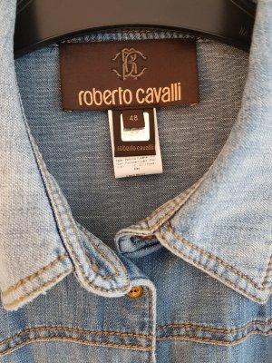 Jeansbluse mit Ledereinsätzen zum schnüren von ROBERTO CAVALLI