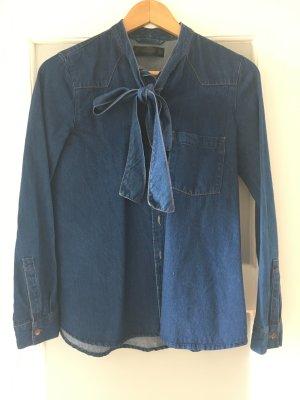 Jeansbluse mit Schluppe von Zara