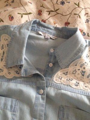 Jeansbluse mit Spitzenapplikation von Tally Weijl