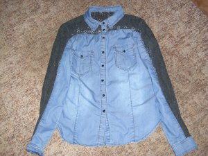 Jeans blouse donkerblauw-zwart