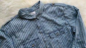 Jeansbluse mit Streifen und Nieten