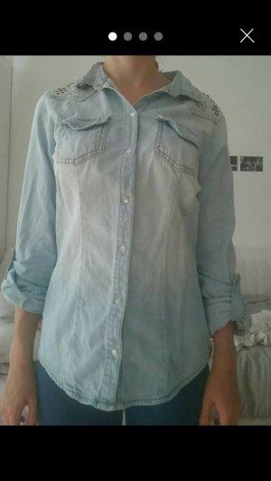 Jeansbluse mit Verzierung