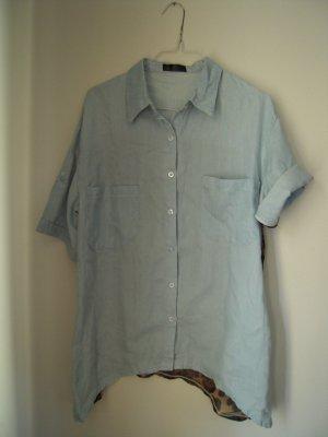 Blouse à manches courtes cognac-bleu pâle tissu mixte