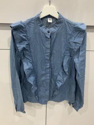 H&M Ruche blouse blauw