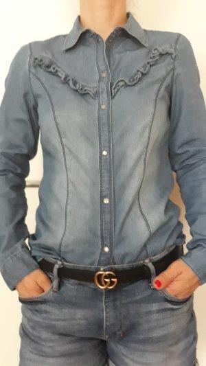 Vero Moda Blouse en jean bleu acier coton