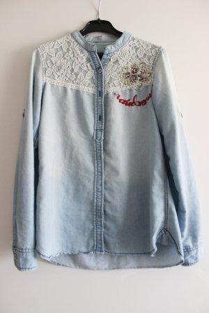 Desigual Blouse en jean bleu-bleu azur
