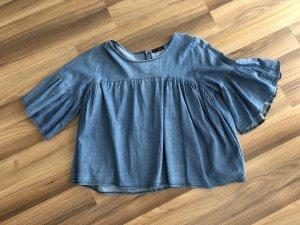 Ruffled Blouse cornflower blue cotton