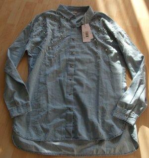Guess Blusa-camisa azul claro Algodón