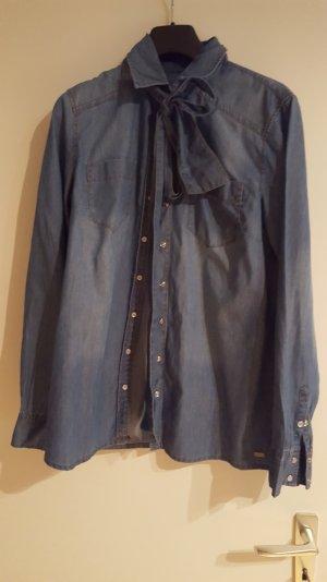 jeansbluse von s oliver blau mit schleife
