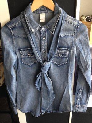Jeansbluse von Vila mit Schleife zum binden Gr. S blau