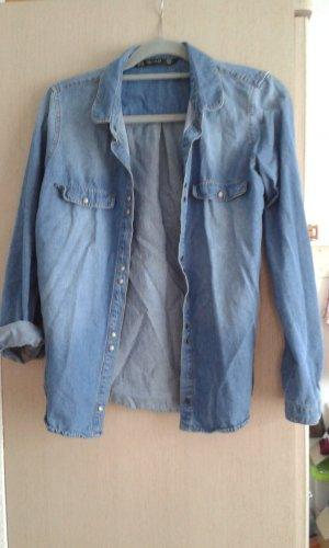 Zara Trafaluc Blouse en jean blanc-bleu