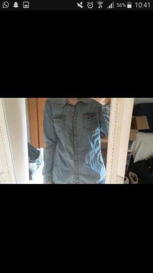 Jeans blouse lichtblauw-blauw