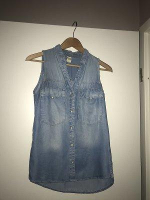 Bershka Denim Shirt azure-cornflower blue