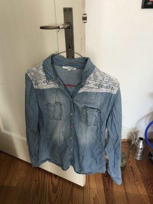 Tally Weijl Chemise en jean bleu azur-blanc