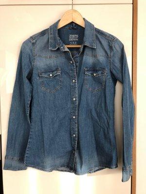 Zara Basic Chemise en jean bleu acier-bleuet