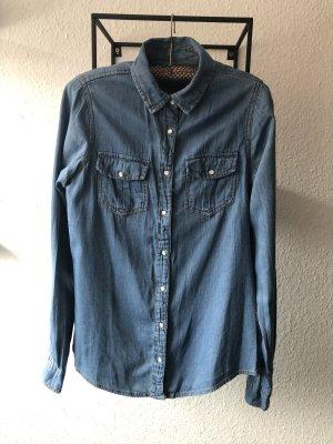 Pull & Bear Camicia denim blu-blu acciaio