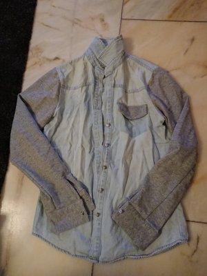 Denim Co. Camisa vaquera gris claro-azul claro