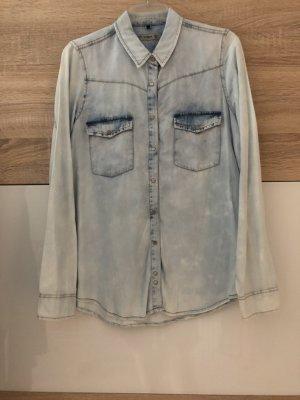 Pull & Bear Denim Shirt baby blue-azure