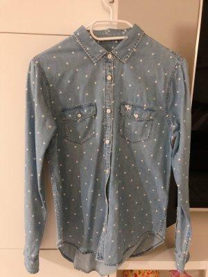 Abercrombie & Fitch Chemise en jean bleu clair-blanc