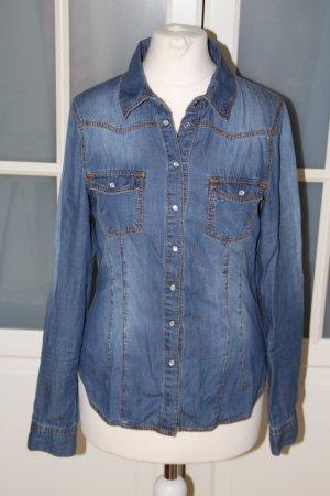 Jeanshemd, dark blue, H&M, talliert, 34XS - 36/S