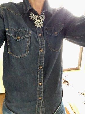 Mango Chemise en jean bleu coton