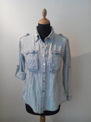 jeanshemd denim jeans jeansbluse hellblau