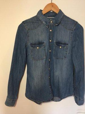 H&M L.O.G.G. Camicia denim blu-blu scuro