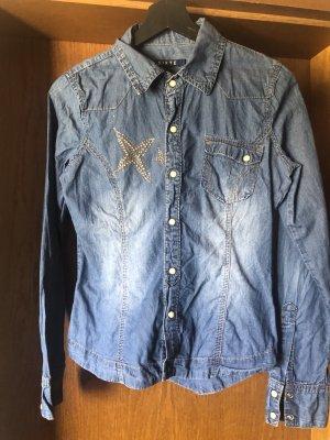 Chemise en jean bleu azur-doré