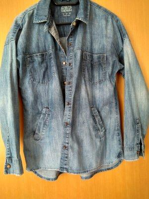 Zara Denim Jacket steel blue cotton