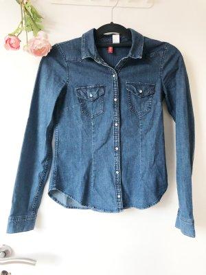 H&M Divided Camisa vaquera azul acero-azul oscuro