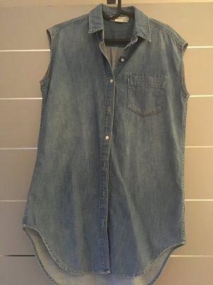 Jeanshemd lang ärmellos Gr. 34 blau