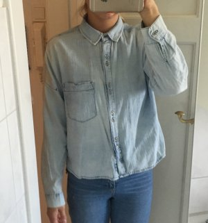 Bershka Spijkershirt korenblauw-azuur Katoen